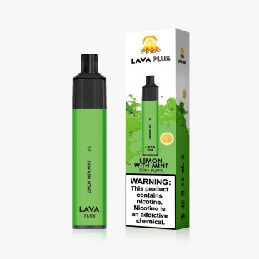 Lemon with Mint - Lava Plus Disposable E-Cigarette - 2000 Puffs, 5% (50mg) Salt Nicotine by Weight